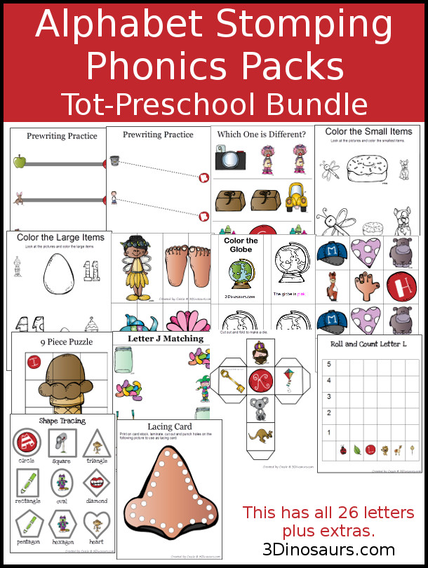 Alphabet Stomping Phonics Tot-Preschool Packs