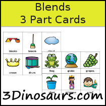 Blends 3 Part Cards - 3Dinosaurs.com