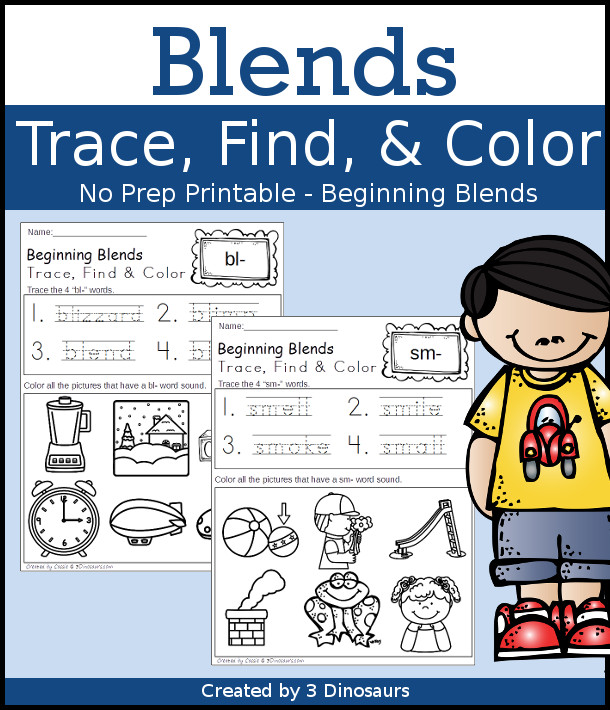 Fun No-Prep Blends Printable: for all 20 beginning sound blends $ - 3Dinosaurs.com