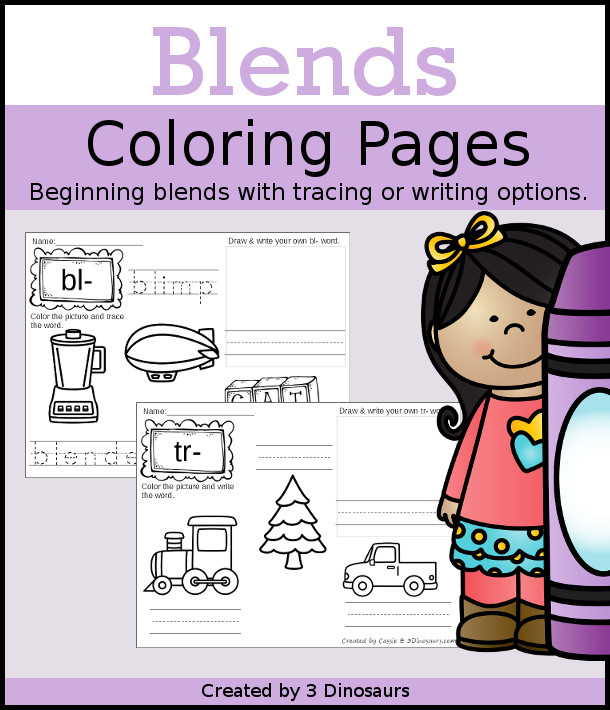 Blends Coloring Pages have the following blends: bl-, br-, cl-, cr-, fl-, fr-, gr-, gl-, pl-, pr-, sc-, sk-,sl-, sm-, sn-, sp-, st-, sw-, tr- with tracing or writing options for each blends - 3Dinosaurs.com