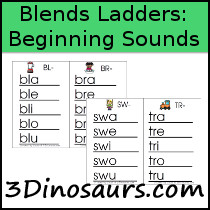 Blends Ladders: Beginning Sounds - 3Dinosaurs.com