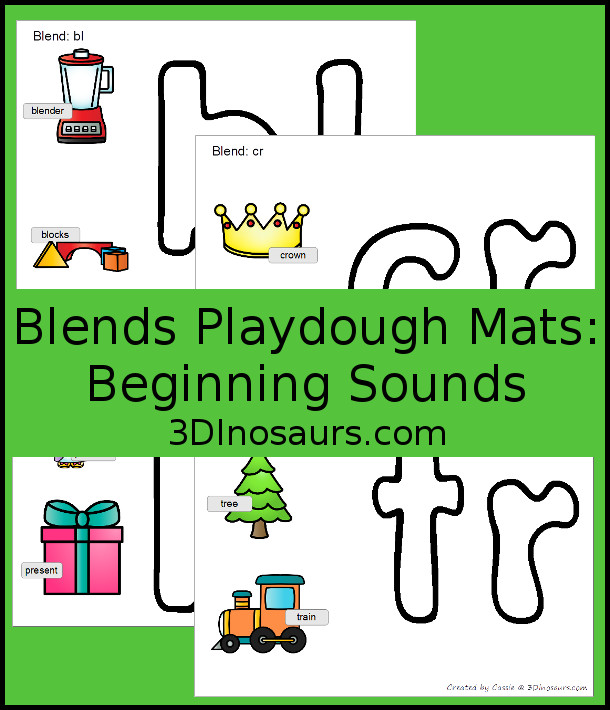 Free Blends Playdough Mats - with 20 different beginning blends sounds - 3Dinosaurs.com