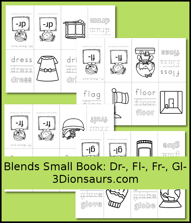 Free Blends Small Books: Dr-, Fl-, Fr-, Gl-  - 3Dinosaurs.com