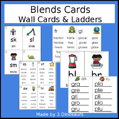 Blends Wall Cards & ladders - 3Dinosaurs.com