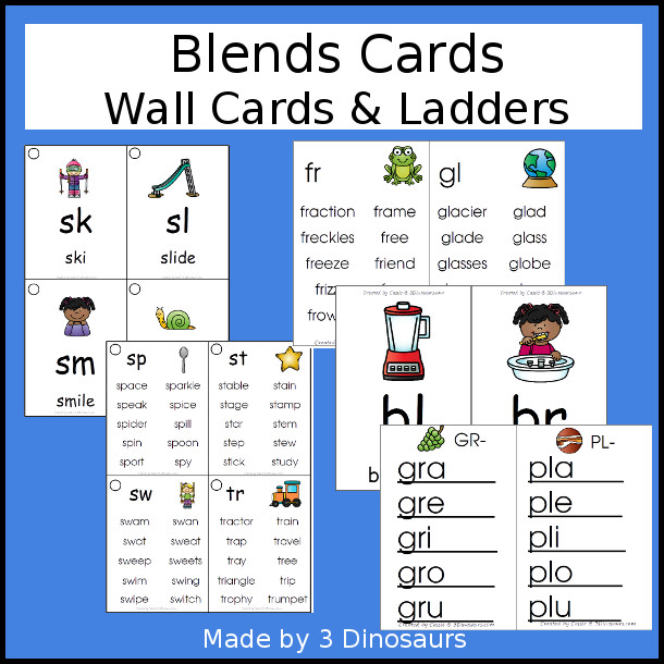 Blends Wall Cards & Ladder: two cards types with 2 size options for each 43 pages of printables - 3Dinosaurs.com