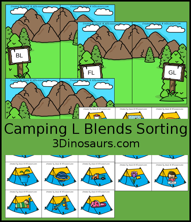 Free Camping Themed L Blends Sorting Printable - with 6 blends to sort with bl, cl, fl, gl, pl, and sl with three matching pictures per blend - 3Dinosaurs.com