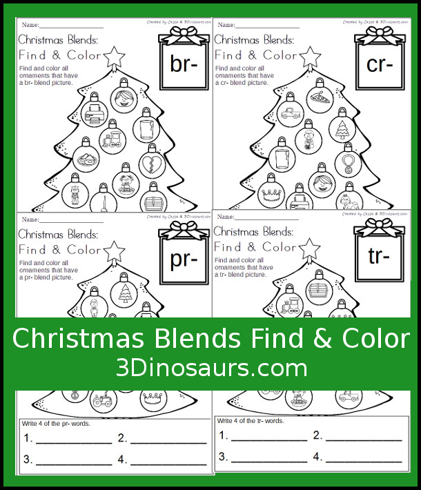 Free Easy No-Prep Christmas Blends Find & Color - with blends br, cr, pr and tr - 3Dinosaurs.com