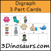 Digraph 3 Part Cards - 3Dinosaurs.com