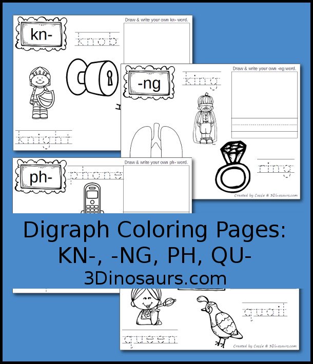 Free Digraph Coloring Pages: KN-, -NG, PH, QU- easy no prep coloring pages - 3Dinosaurs.com