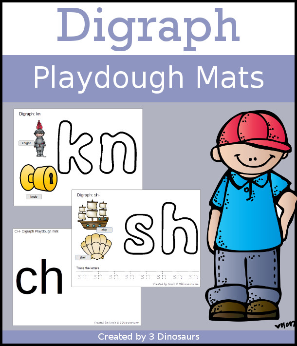 Digraph Playdough Mats - with 16 digraphs with beginning  and ending options - three different types of playdough mats $ - 3Dinosaurs.com