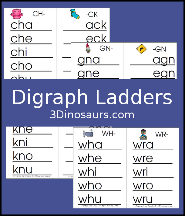 photograph about Word Ladders Printable identified as Fingers-Upon Understanding With Digraph Phrase Ladders 3 Dinosaurs