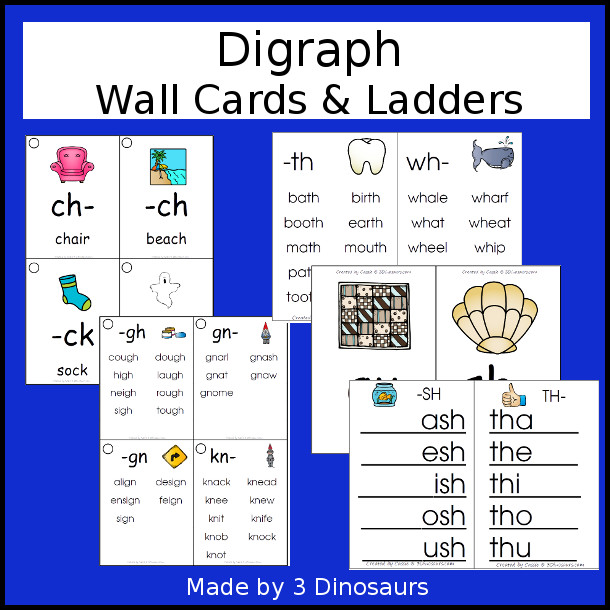 Digraph Wall Cards & Ladder: two cards types with 2 size options for each 40 pages of printables - 3Dinosaurs.com