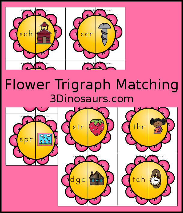 FREE Hands-On Flower Trigraph Matching Puzzles - perfect for spring with 10 different puzzles. - 3Dinosaurs.com