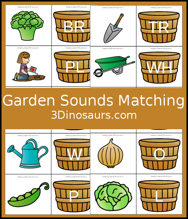 Free Garden Themed Beginning Sounds Matching - with single letter and blends for beginning sounds - 3Dinosaurs.com