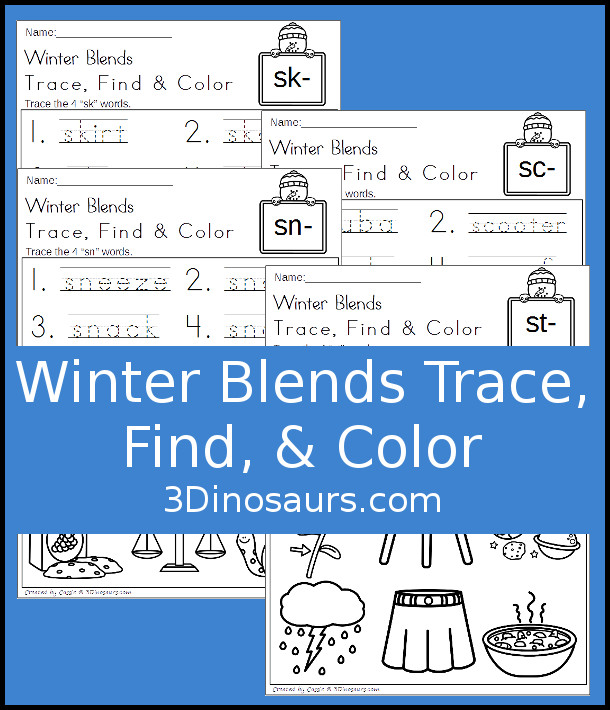 FREE Fun No-Prep Winter Learning with Blends: for beginning blends: sc, sk, sn, st - 3Dinosaurs.com
