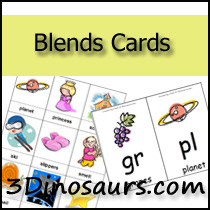Blends Cards - 3 Dinosaurs