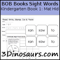 BOB Books Sight Words Kindergarten Book 1 Mat Hid: ran, saw, to - 3Dinosaurs.com