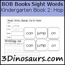 BOB Books Sight Words Kindergarten Book 2 Hop: can, jump on - 3Dinosaurs.com