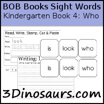 photo about Sight Word Book Printable named 3 Dinosaurs - Early Reading through Printables: BOB Guides Sight