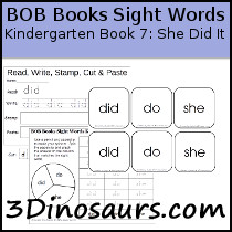 Early Reading Printables BOB Books Sight Words Kindergarten Book 7 & 8