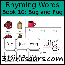 words that rhyme with pug 3 dinosaurs early reading printables bob books rhyming 7135