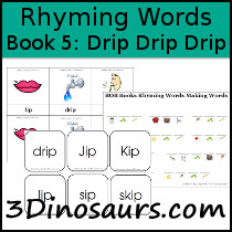 Printables 5 Rhyming Words 3 dinosaurs early reading printables bob books rhyming words book 5 drip drip