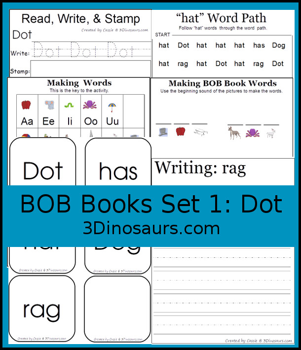 3 Dinosaurs - Early Reading Printables: BOB Books Set 1