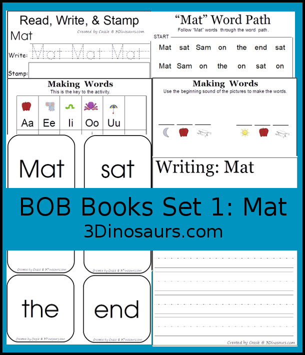 BOB Books Printables: Set 1 Book 1 Mat - 16 pages of printables working on learning words from BOB Books Set 1 book 1 Mat with sight words and CVC words - 3Dinosaurs.com