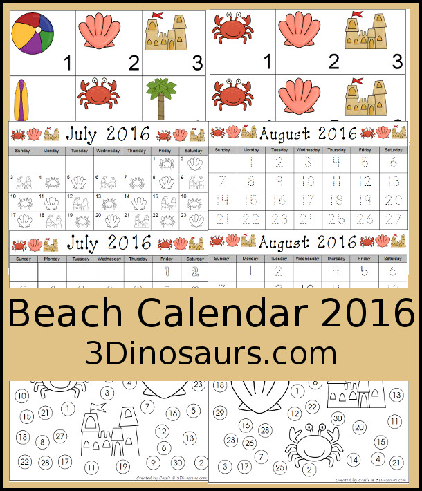 Free 2016 Beach Calenader - ABC Calendar Pattern set, 6 image pattern and single page calendar for July and August 2016 - 3Dinosaurs.com