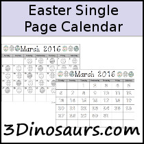 Easter Single Page Calendar Set