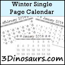 Winter Single Page Calendar Set