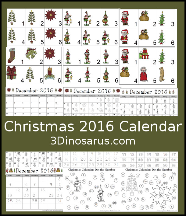 Free 2016 Christmas Calendar Printables: Three different themes: elves, Santa, & Christmas Themes - 3Dinosaurs.com