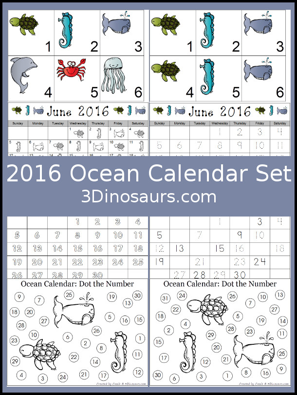 Free 2016 Ocean Calendar - 2 types of cards and a single page calendar for June & July 2016 - 3Dinosaurs.com