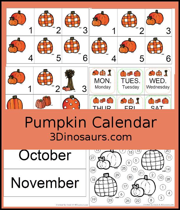Free 2016 Pumpkin Calendar Set - 3Dinosaurs.com