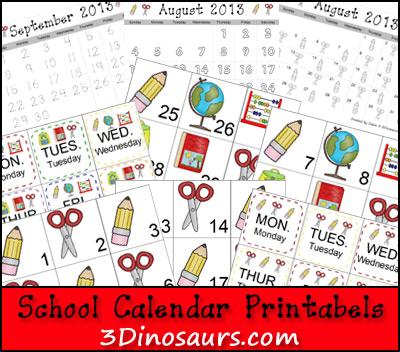 back to school activities, free calendar printables