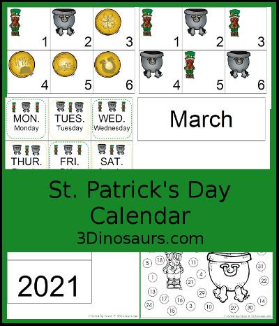 Saint Of The Day Calendar 2021 3 Dinosaurs   St. Patrick's Day Calendar Set