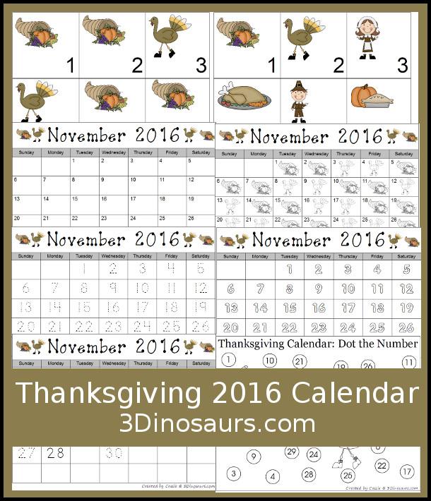 Thanksgiving Calendar Printables - 3Dinosaurs.com