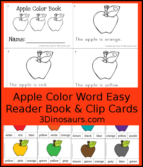 FREE Apple Color Clip Cards & Matching Easy Reader Book - 11 clip cards with a matching 12-page easy reader book - 3Dinosaurs.com