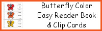 Butterfly Color Easy Reader Book & Clip Cards
