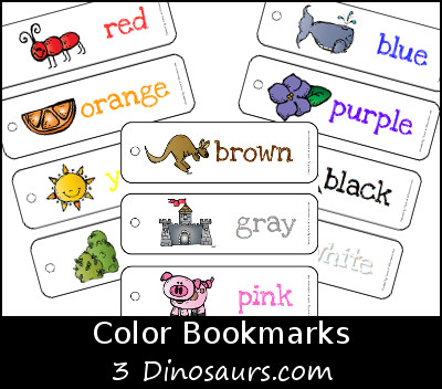 Free Color Bookmarks - 3Dinosaurs.com