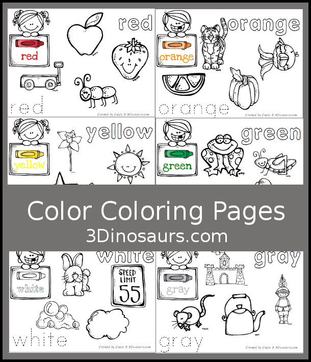 Free Color Coloring Pages - 11 color words with pictures to color and words to trace and color- 3Dinosaurs.com