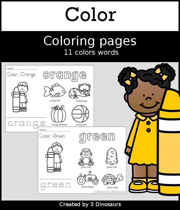 Color Coloring Pages Selling Set - 11 pages with tracing and coloring the word and 4 pictures to color - 3Dinosaurs.com