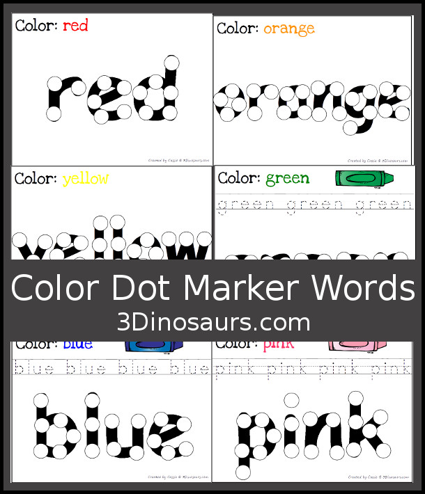 Free Color Dot Marker Words - 2 different types - 3Dinosaurs.com