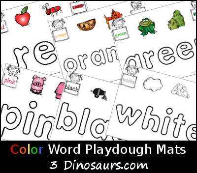 Free Color Word Playdough Mats- 3Dinosaurs.com