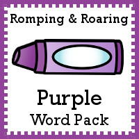 Free Romping & Roaring Color Purple Word Pack - 8 pages of activities - 3Dinosaurs.com