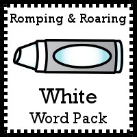 Free Romping & Roaring Color White Word Pack - 8 pages of activities - 3Dinosaurs.com