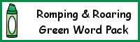 Romping & Roaring Color Word Green Pack