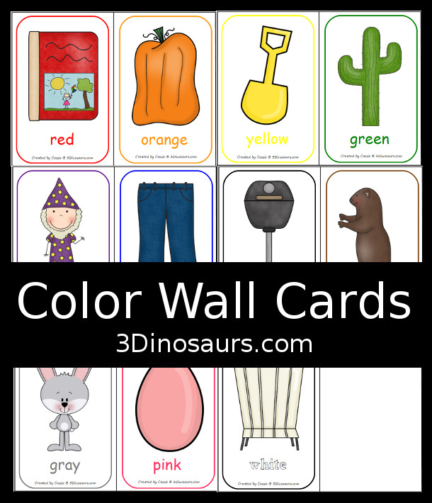 FREE Color Wall Cards - 11 color cards to use with kids - 3Dinosaurs.com