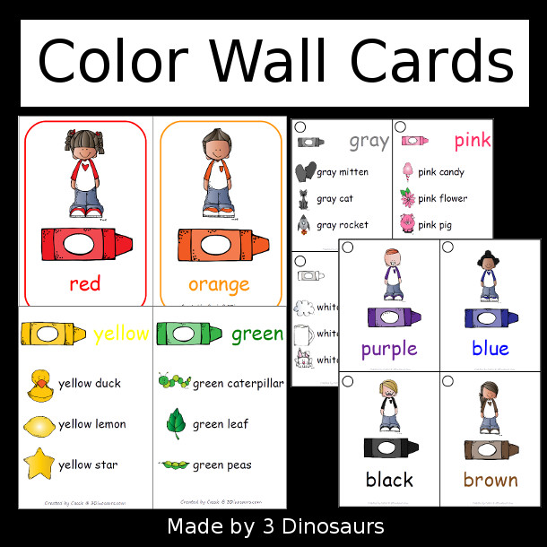 Color Wall Cards - 11 color cards  in two types and 2 different sizes to use on wall and smaller for a flip book - 3Dinosaurs.com