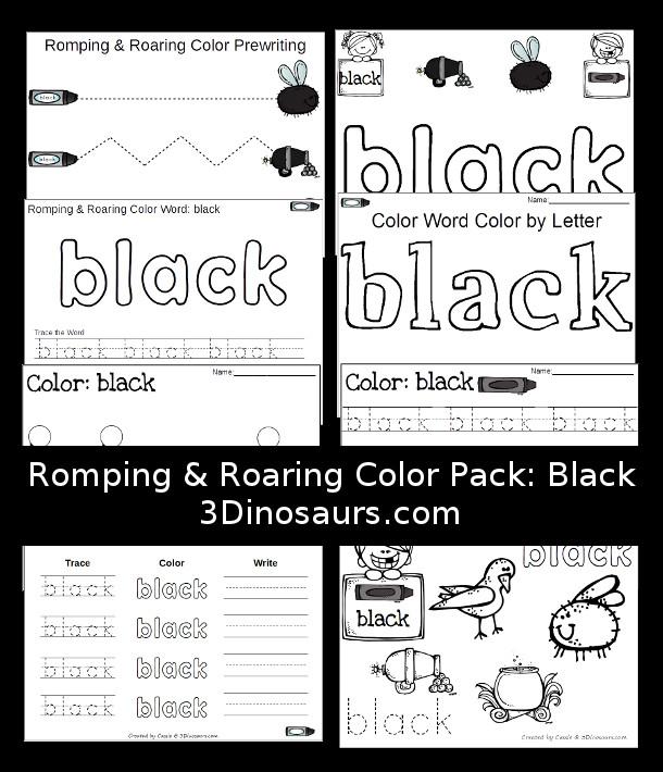Free Romping & Roaring Color Pack Black - 3Dinosaurs.com